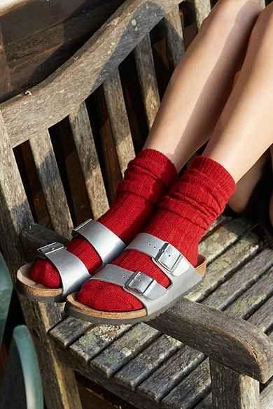 Birkenstock Arizona Metallic Leather Slide Sandal