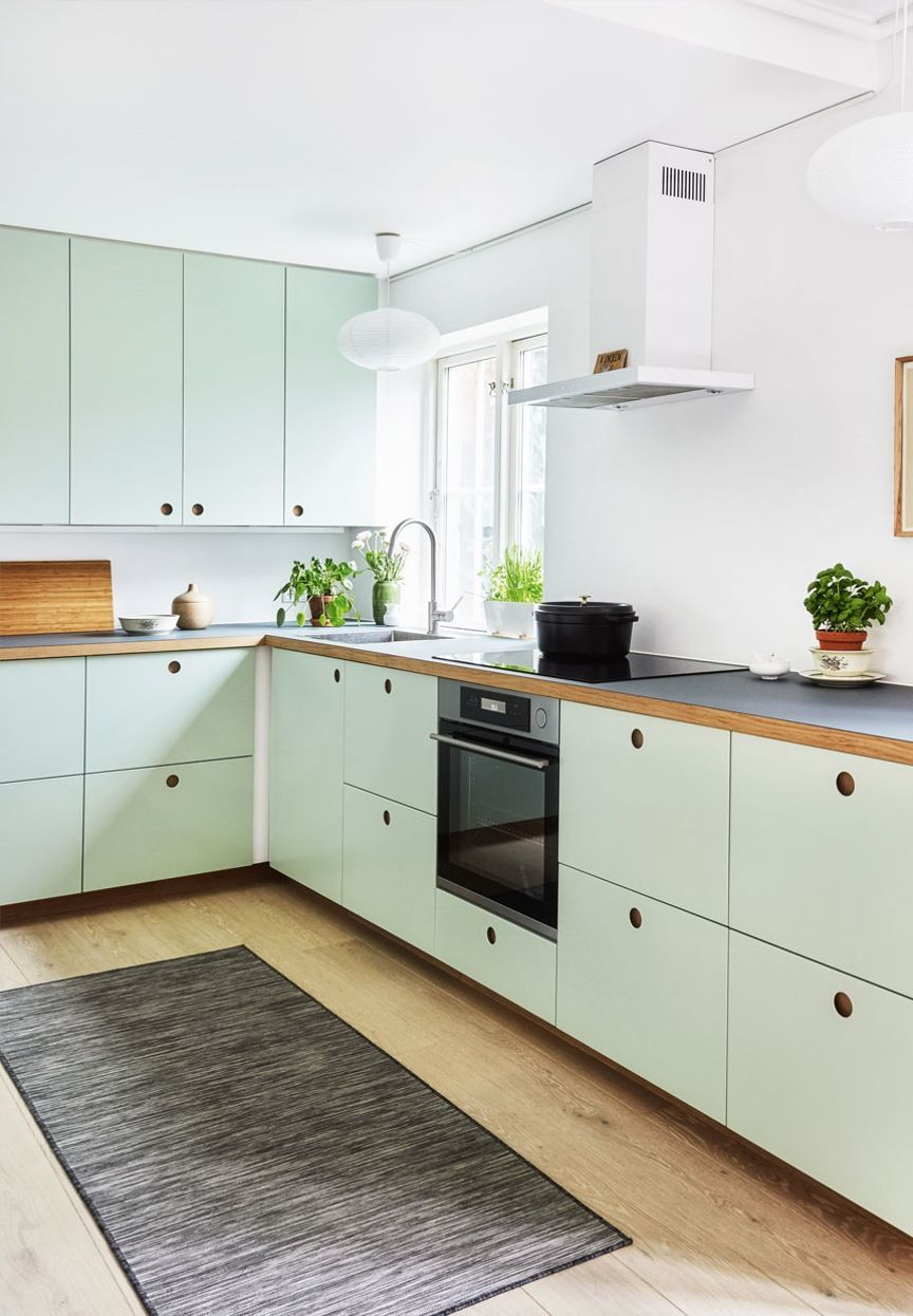 Modern Kitchen From Ikea With Mint Green Cabinetry And