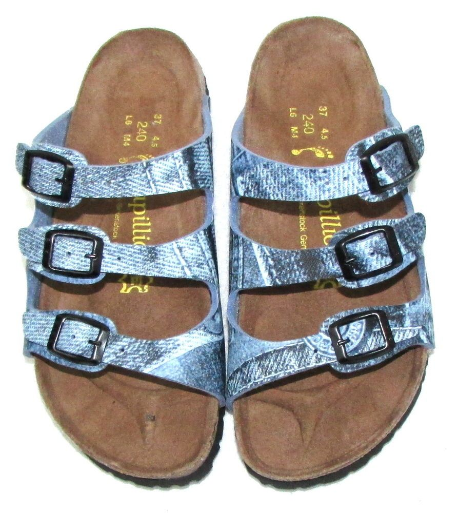 b3e10f3100cb BIRKENSTOCK PAPILLIO FLORIDA Blue Denim Print 3 Strap Slides Sandals 37 6  New    Papillio  Slides  Casual