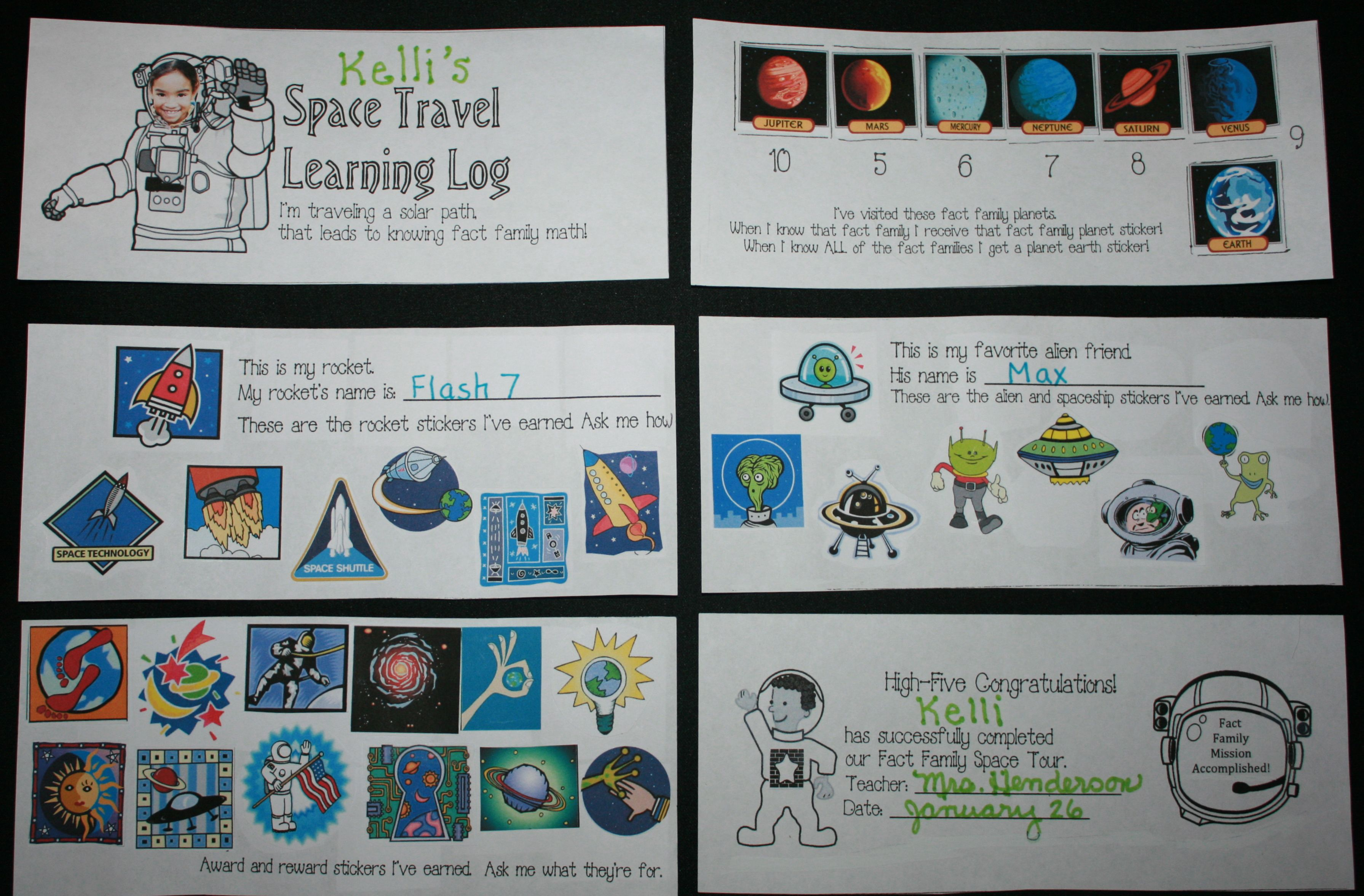 Learning Log Space Travel Planets Fact Families Fact