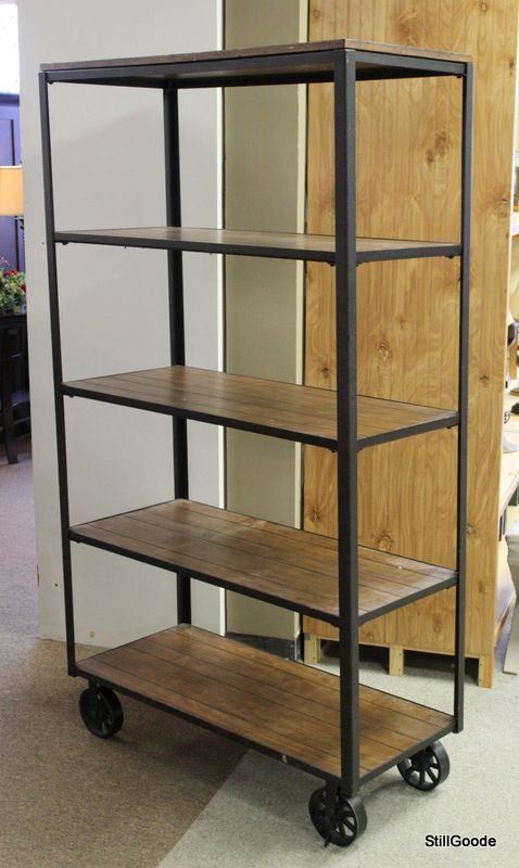 Industrial Style Wood And Iron Rolling Bookcase With 5 Shelves