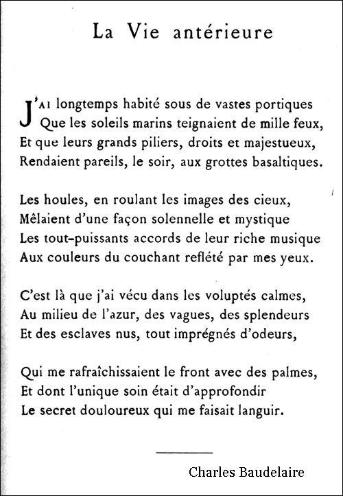 La Vie Antérieure Poèmes Damour En Français Poeme Et