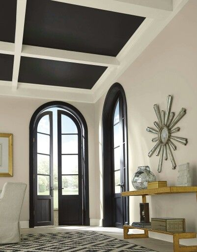Sherwin Williams Alabaster Wall Color Black Interior Doors Black Accent Walls Black Trim Interior