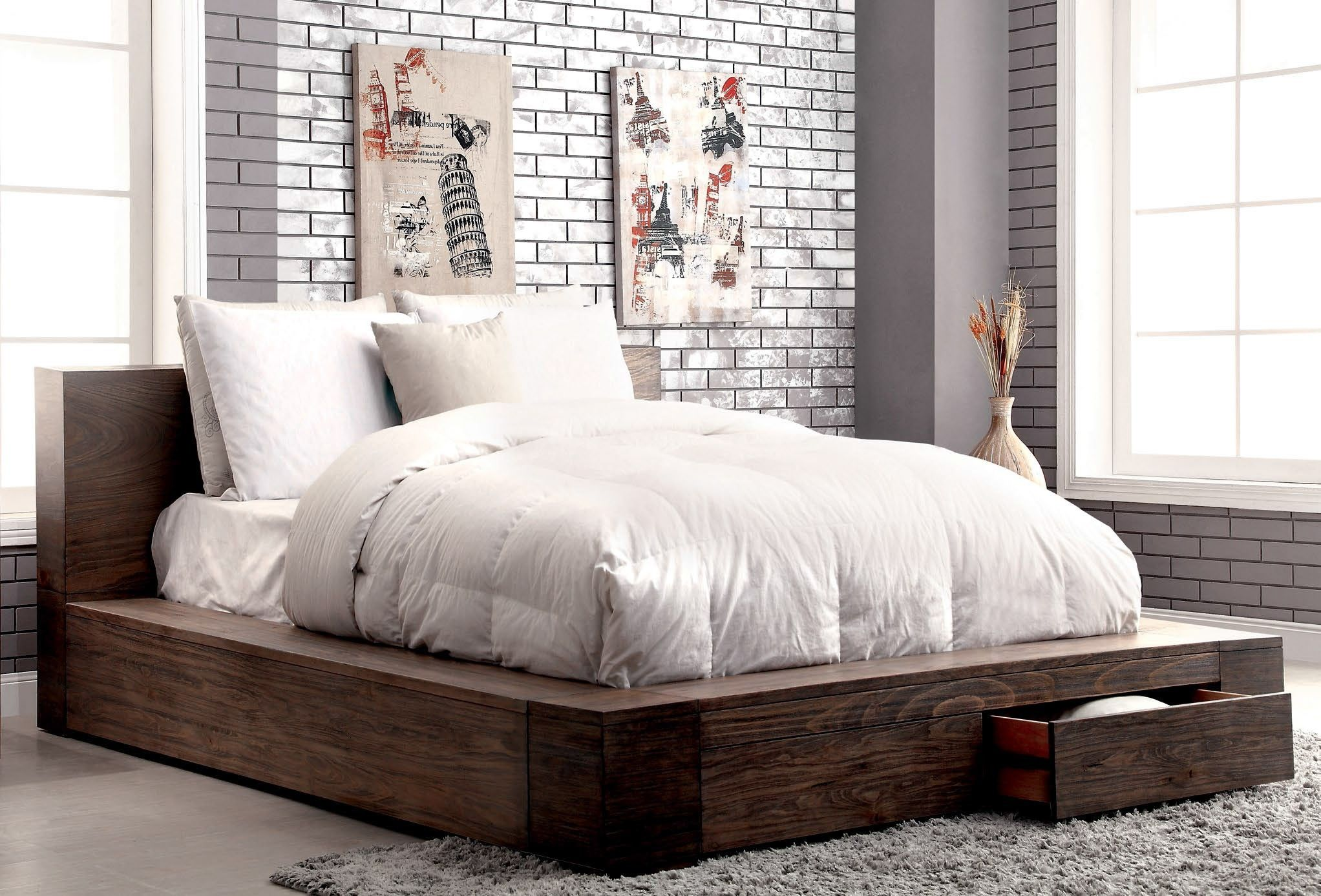 JANEIRO NATURAL WOOD GRAIN PATTERN QUEEN BED with Storage