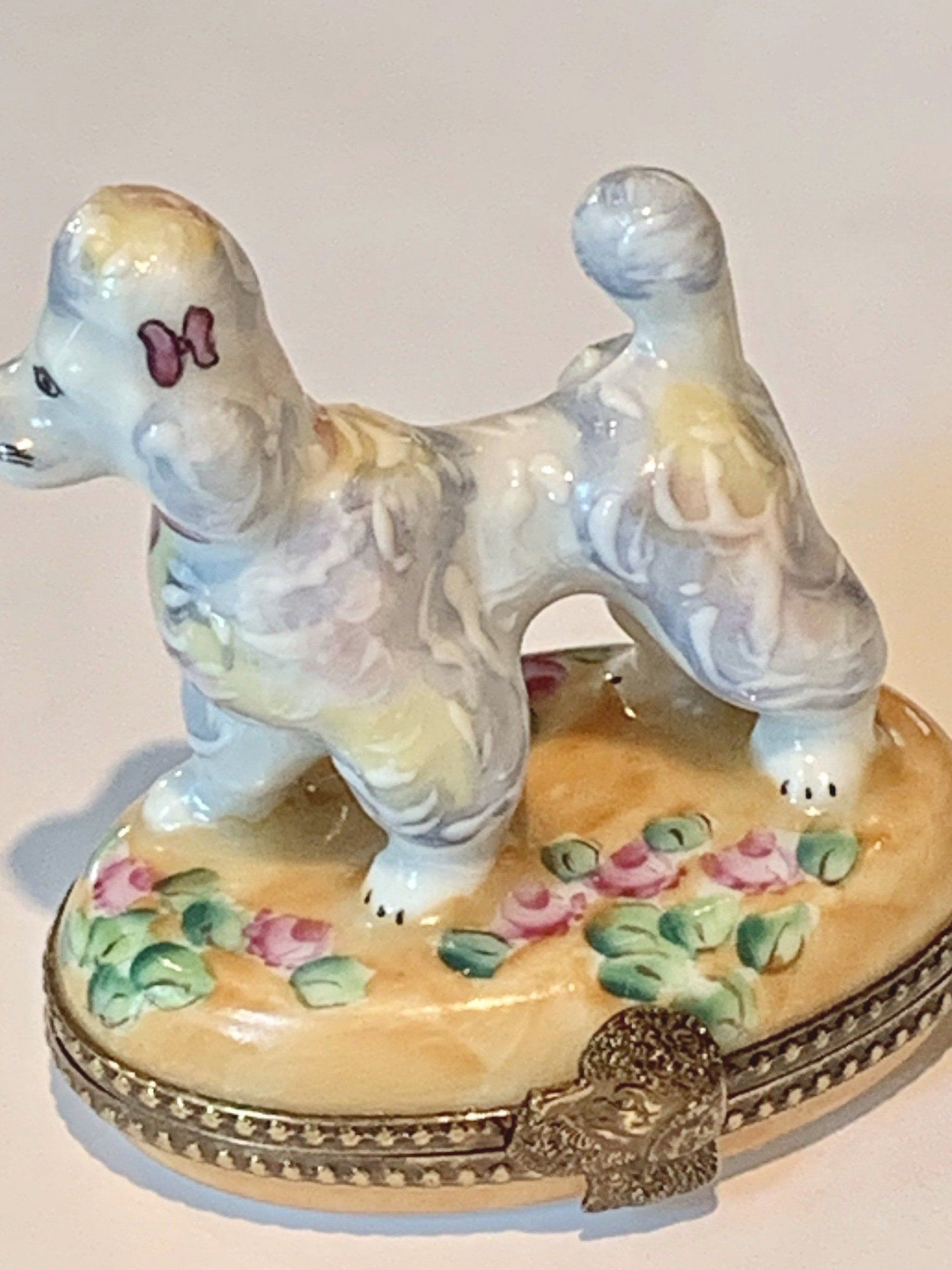 Excited to share this item from my #etsy shop  Limoges French Poodle Box on Floral Base   Retired  #whitepoodle #vintage #limogesfrance