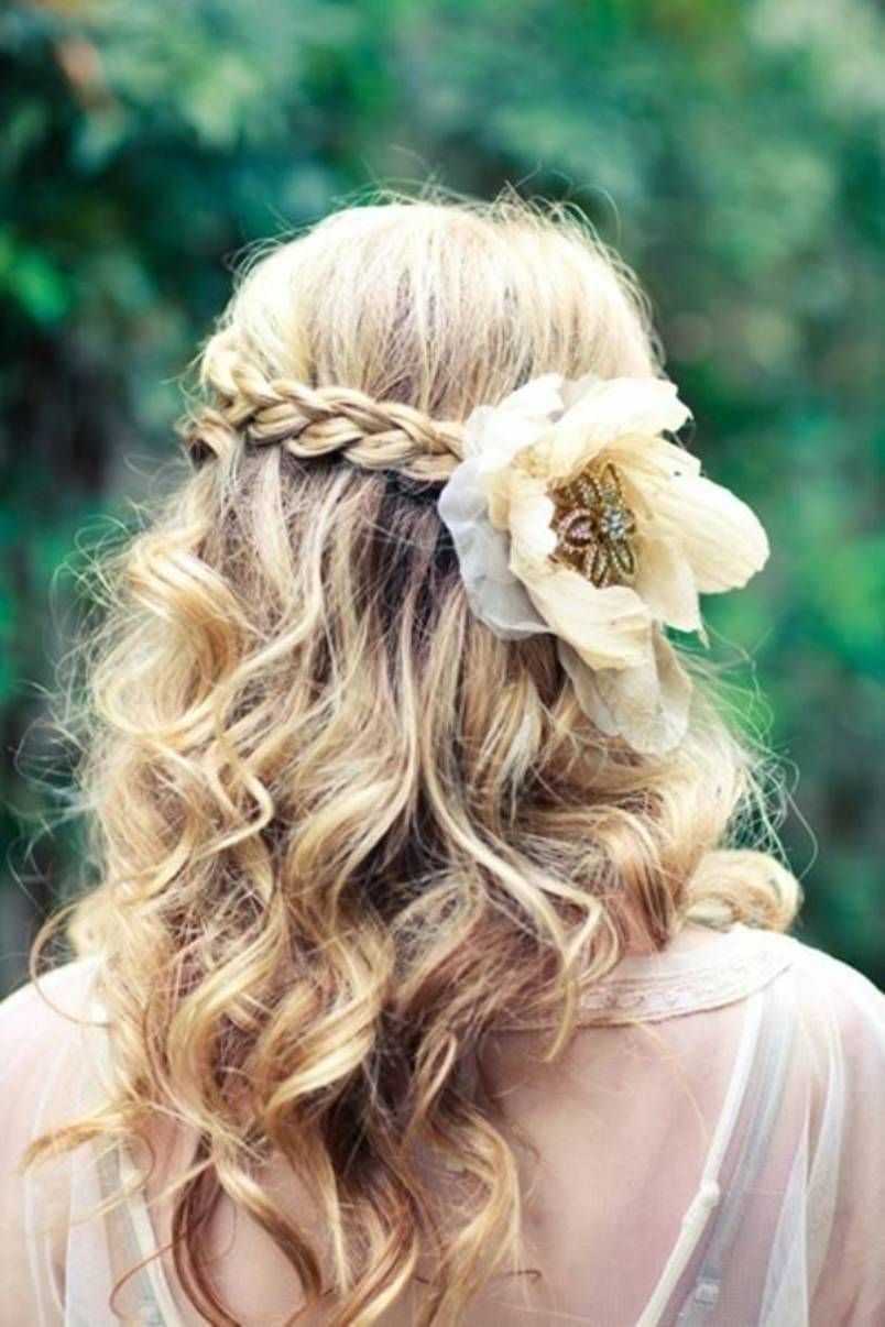 Flower long curly hairstyle for wedding pretty long curly