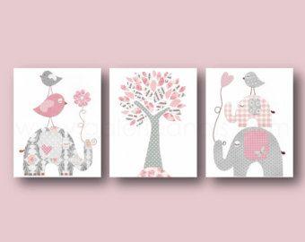 Baby Girl Nursery Decor Art Pink Grey Gray by LovelyFaceDesigns