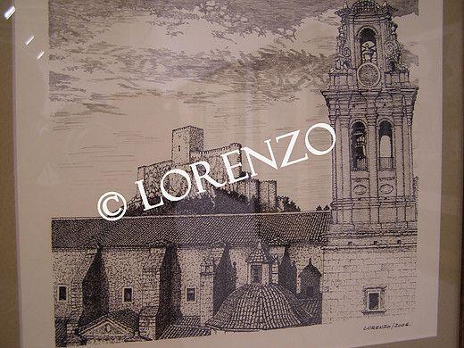 Almansa Torre E Iglesia De La Asuncion Con El Castillo Al Fondo Dibujo A Plumilla Sobre Papel Dibujo A Pluma Castillos Plumas