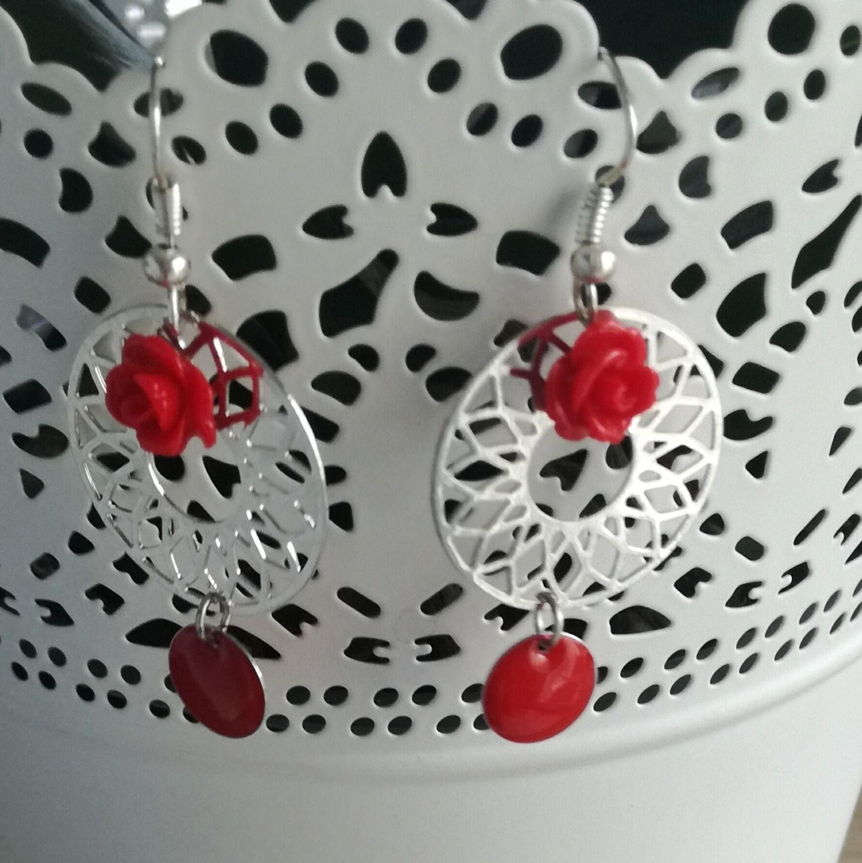 boucles d'oreilles argentées rose rouge : Boucles d'oreille par tresoreloa