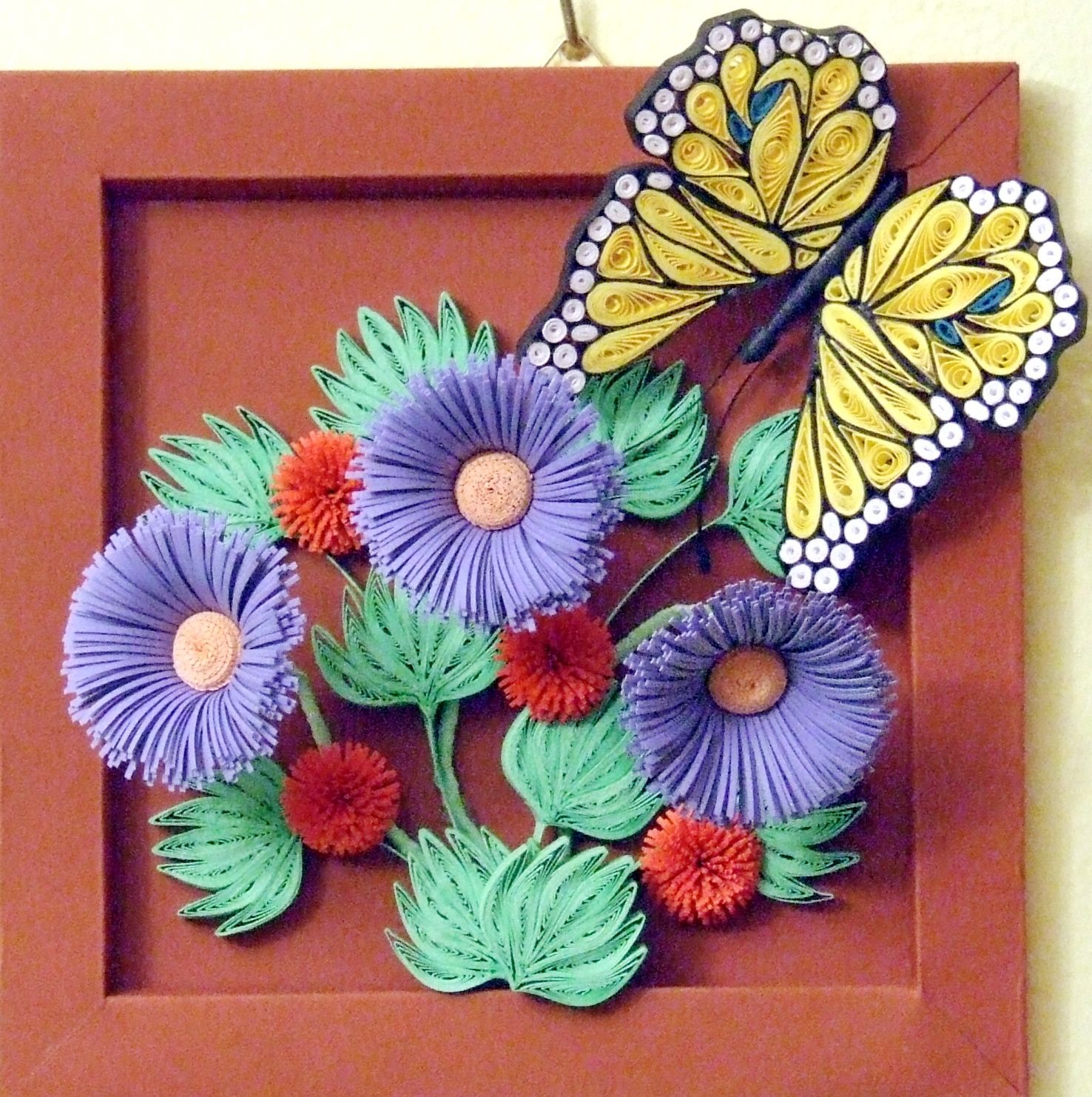 Quilled Blue Violet Flowers With Yellow Butterfly Jpg 1476 1482