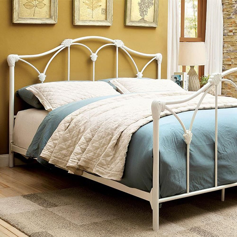 Cecilia Contemporary Cal King Size Meatl Bed In White Finish