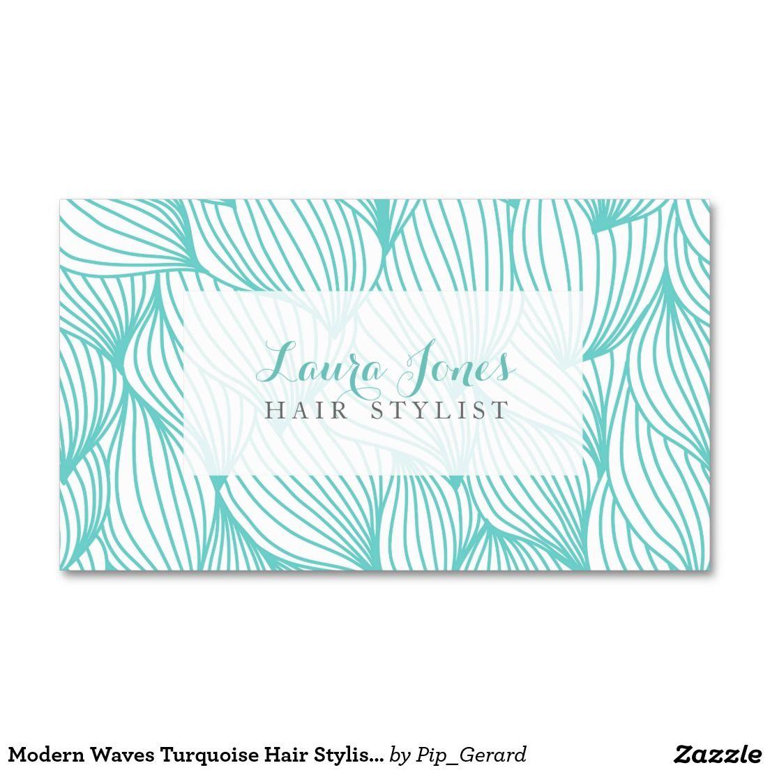 Modele Moderne De Coiffeur Turquoise Vagues Carte Visite Standard Friseur Logo Visitenkarten