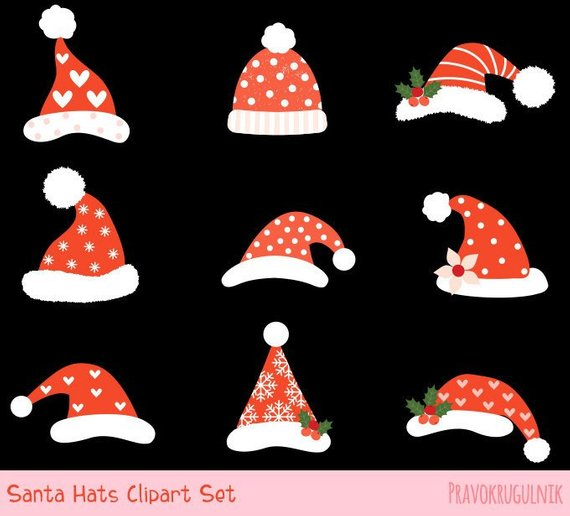 6ccc3dd77 Cute Santa hat clipart, Santa Claus hat clip art, Funny Christmas hat  graphics Hipster holiday hats