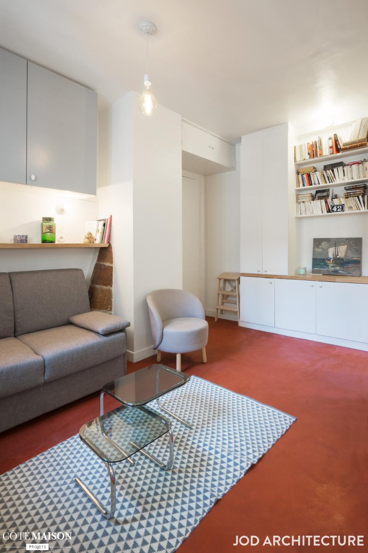 47 M2 Pour Une Famille De Quatre Jod Architecture Cote Maison En 2020 Tete De Lit Avec Rangement Grand Meuble Lit Rangement