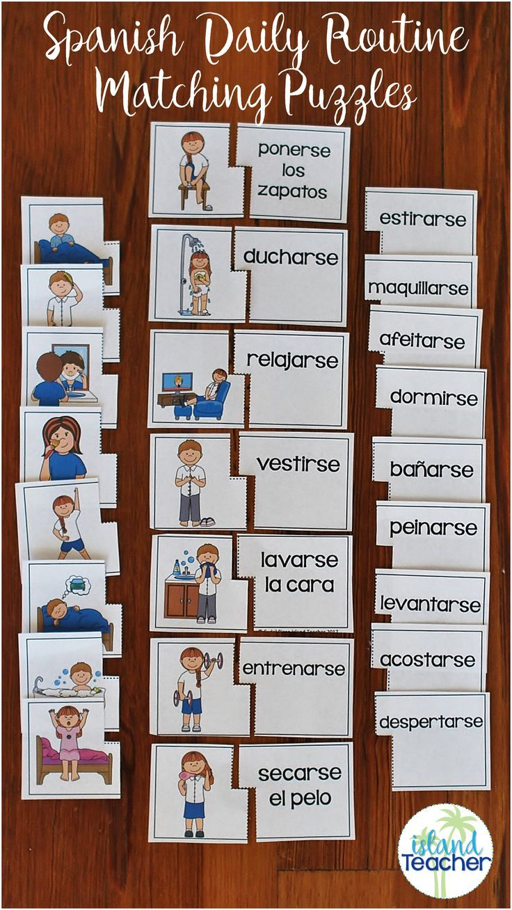 Practice Spanish Daily Routine Vocabulary With Matching Puzzles Spanish Lessons For Kids Reflexive Verbs Homeschool Spanish [ 1308 x 736 Pixel ]