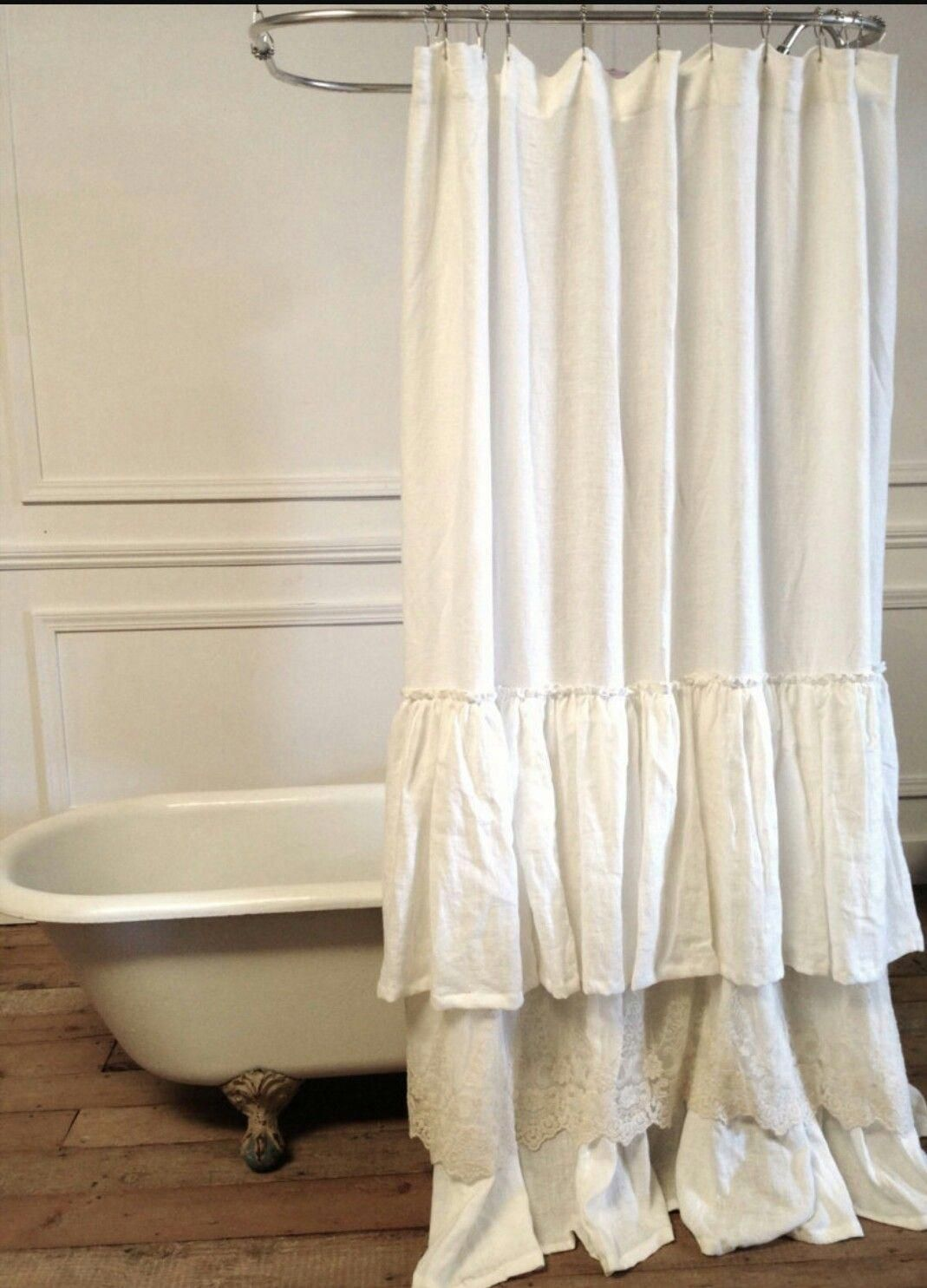 Shabbychicbathrooms Lace Shower Curtains Ruffle For Sale Curtain