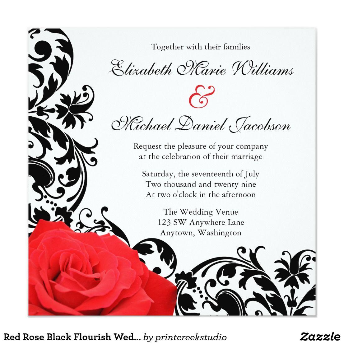 Red Rose Black Flourish Wedding Invitations Beautiful gothic rose ...