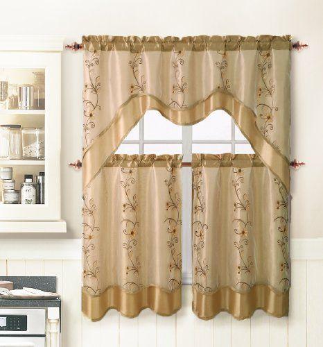 3 Piece Kitchen Window Curtain Treatment Set: 2 Layer, Embroidered ...