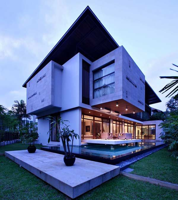 Modern Homes Front And Back: Resort Villa In The Front, Contemporary Home In The Back
