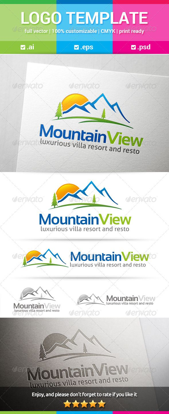 Mountain View - Logo Design Template Vector #logotype Download it here: http://graphicriver.net/item/mountain-view-logo/8156781?s_rank=497?ref=nexion
