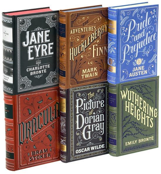 classic books with foil-stamped covers