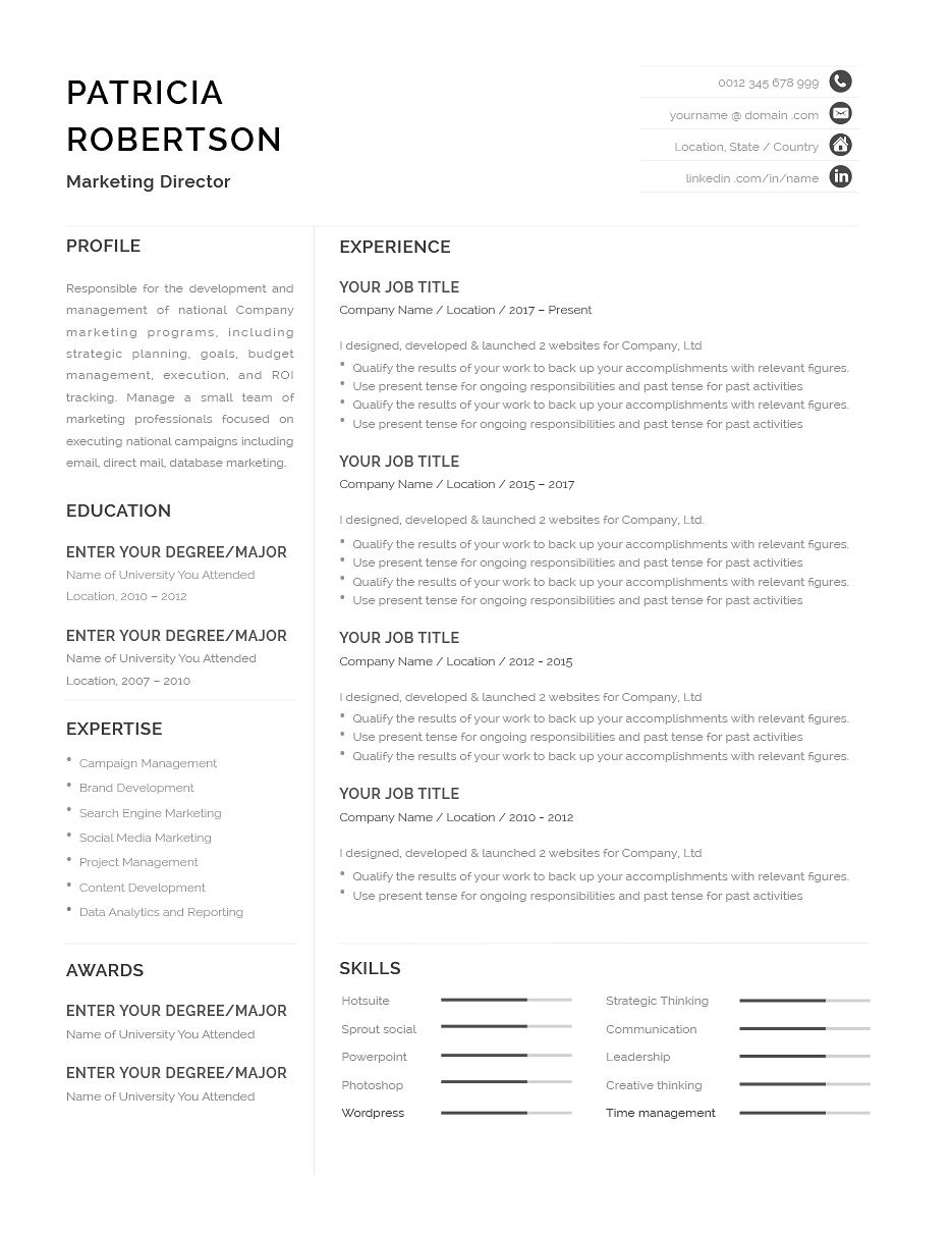 classic resume template 120670  color  grey  ms word
