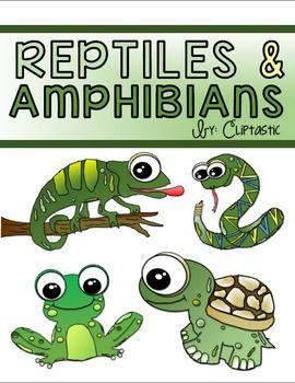 Animal Reptile Amphibian Clipart Freebie | Reptiles, amphibians ...