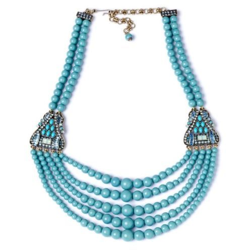 HEIDI-DAUS-Necklace-Guiltless-Glamour-Five-Strand-Turquoise-Crystals-NIB-DS