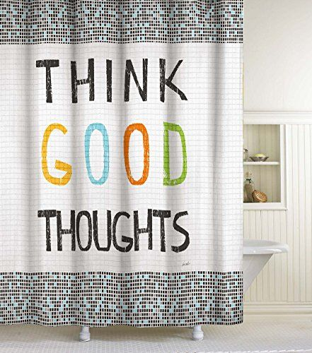 Lisa Weedn Think Good Thoughts Fabric Shower Curtain Black 70 Inch X 72 Inch