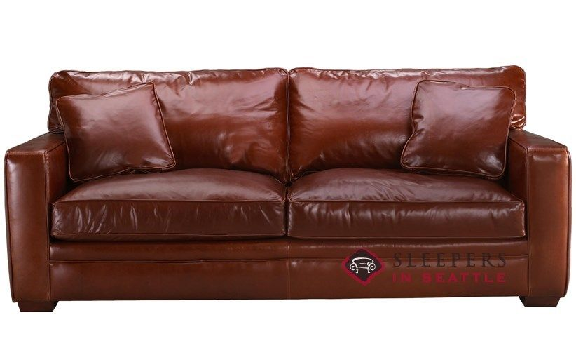 Savvy Houston Leather Sleeper Sofa With Down Blend Cushions Queen At Sleepers In