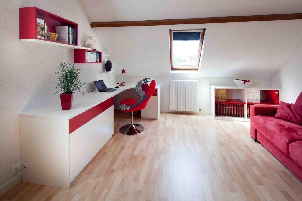 Bureau blanc et rouge avec meubles de rangements | Mobilier de salon, Meuble rangement, Placard ...
