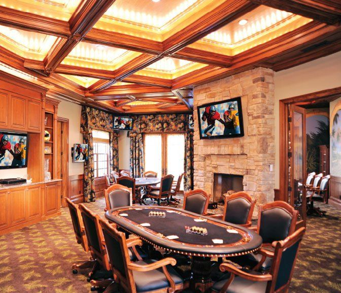 classic man cave with game room