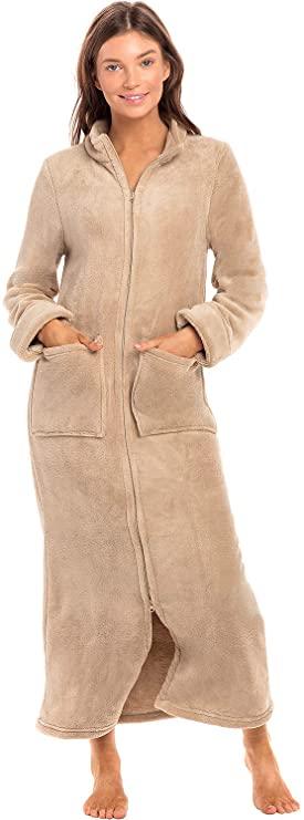 Warm Fitted Bathrobe Alexander Del Rossa Womens Zip Up Fleece Robe