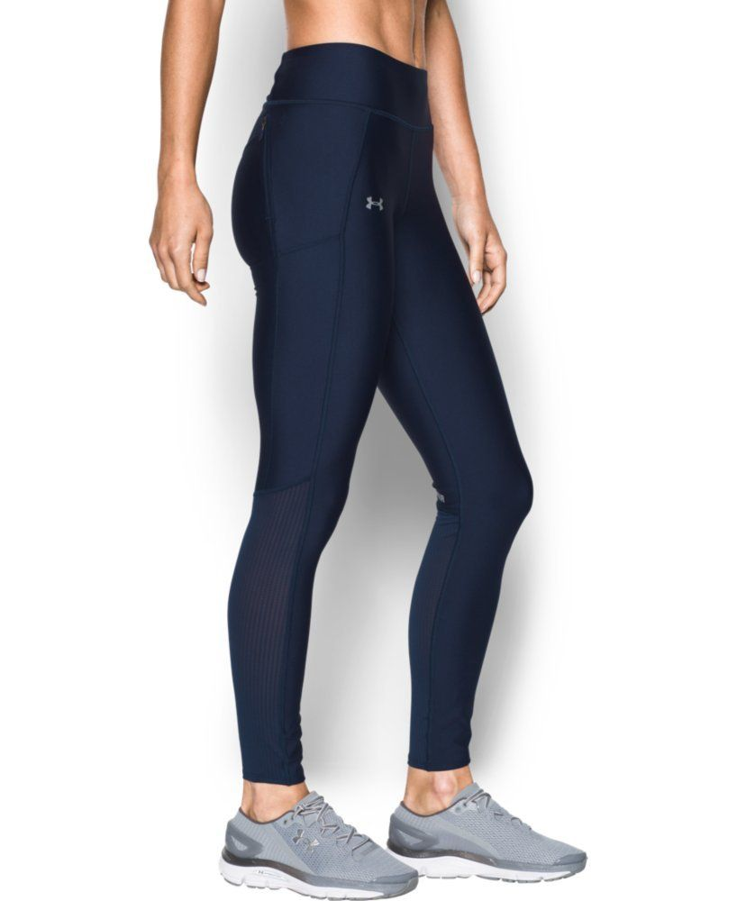 7b9152f127ab5 Under Armour Women's Fly-By Legging, Midnight Navy/Reflective, X-Large