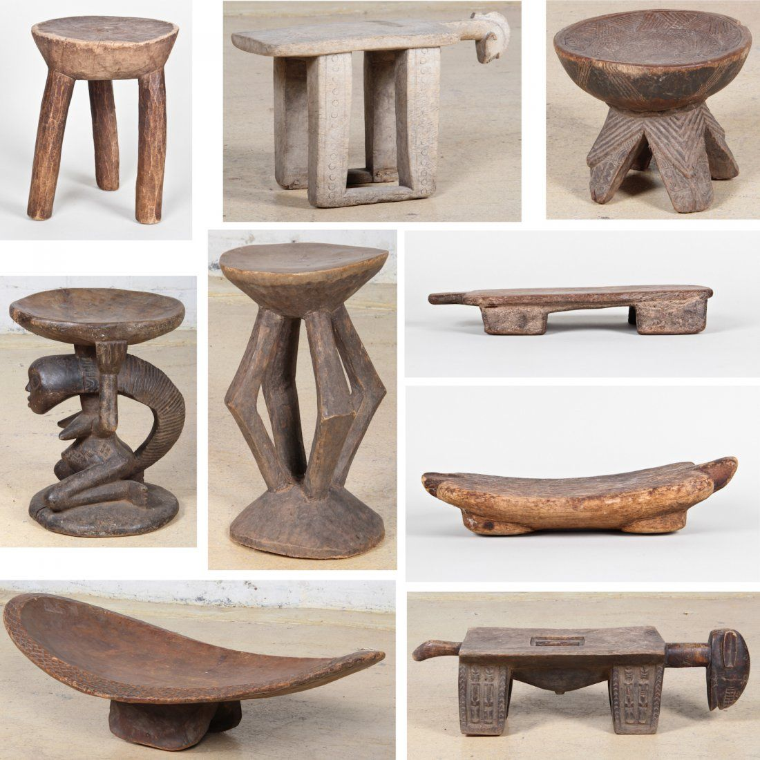 Collection Of Nine African Stools Lot 71 African Furniture African Inspired Decor African Home Decor