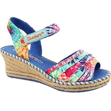 Skechers Tikis - Ruffle Ups Ankle Strap Sandals - Girls Natural Multi