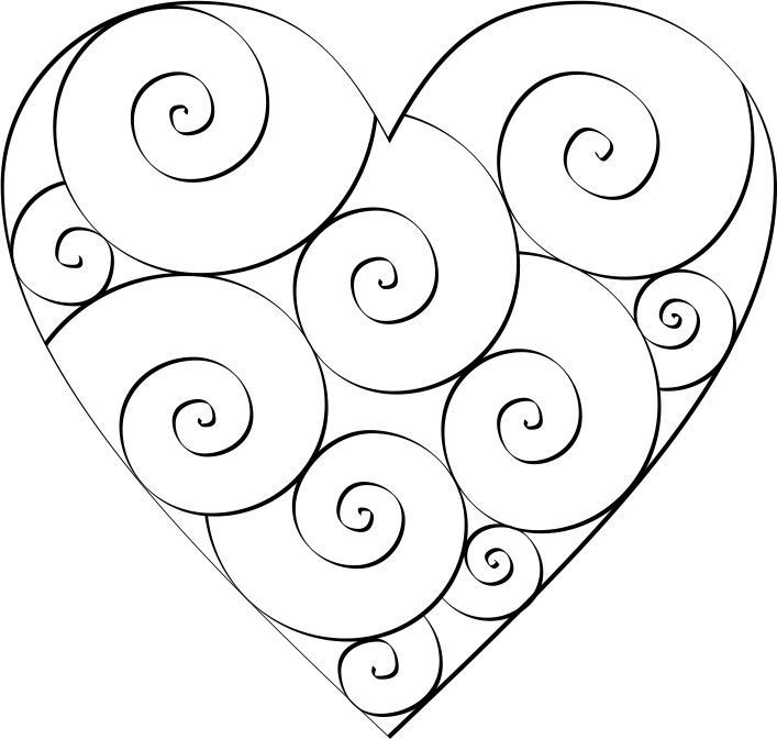 Swirl Hearts to Color | Doodles, Template and Quilling
