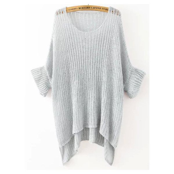 Grey Round Neck Split Loose Knit Sweater (1,380 INR) ❤ liked on Polyvore featuring tops, sweaters, grey, scoop neck sweater, grey sweater, sweater pullover, long sleeve tops et long sleeve knit sweater