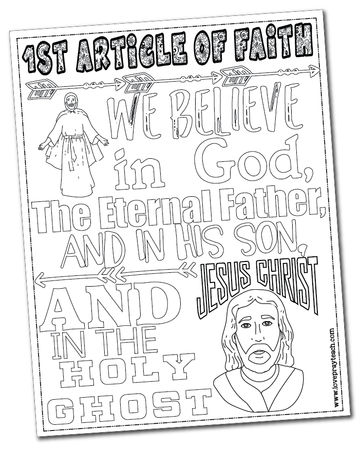 1st Article of Faith coloring page - free download! www ...