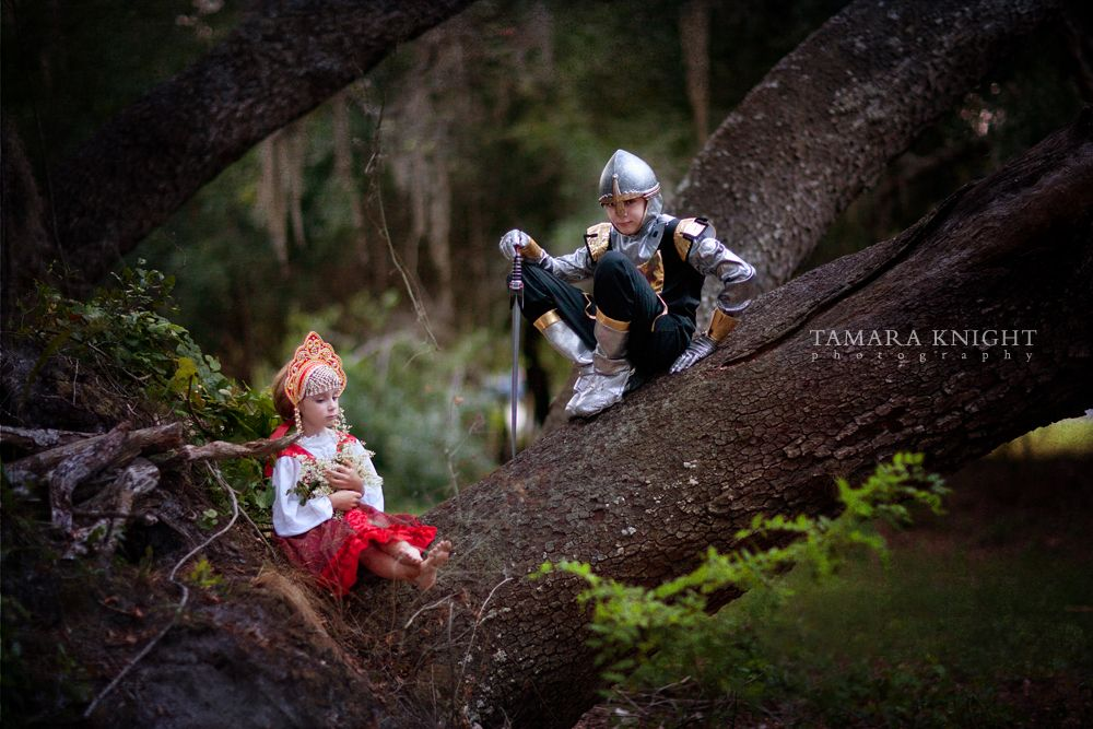 Ruslan and Lyudmila, fairytale photography, fable shoot, Ruslan and Lyudmila, Pushkin, Russian costume, knight costume, story book by Tamara Knight Photograph