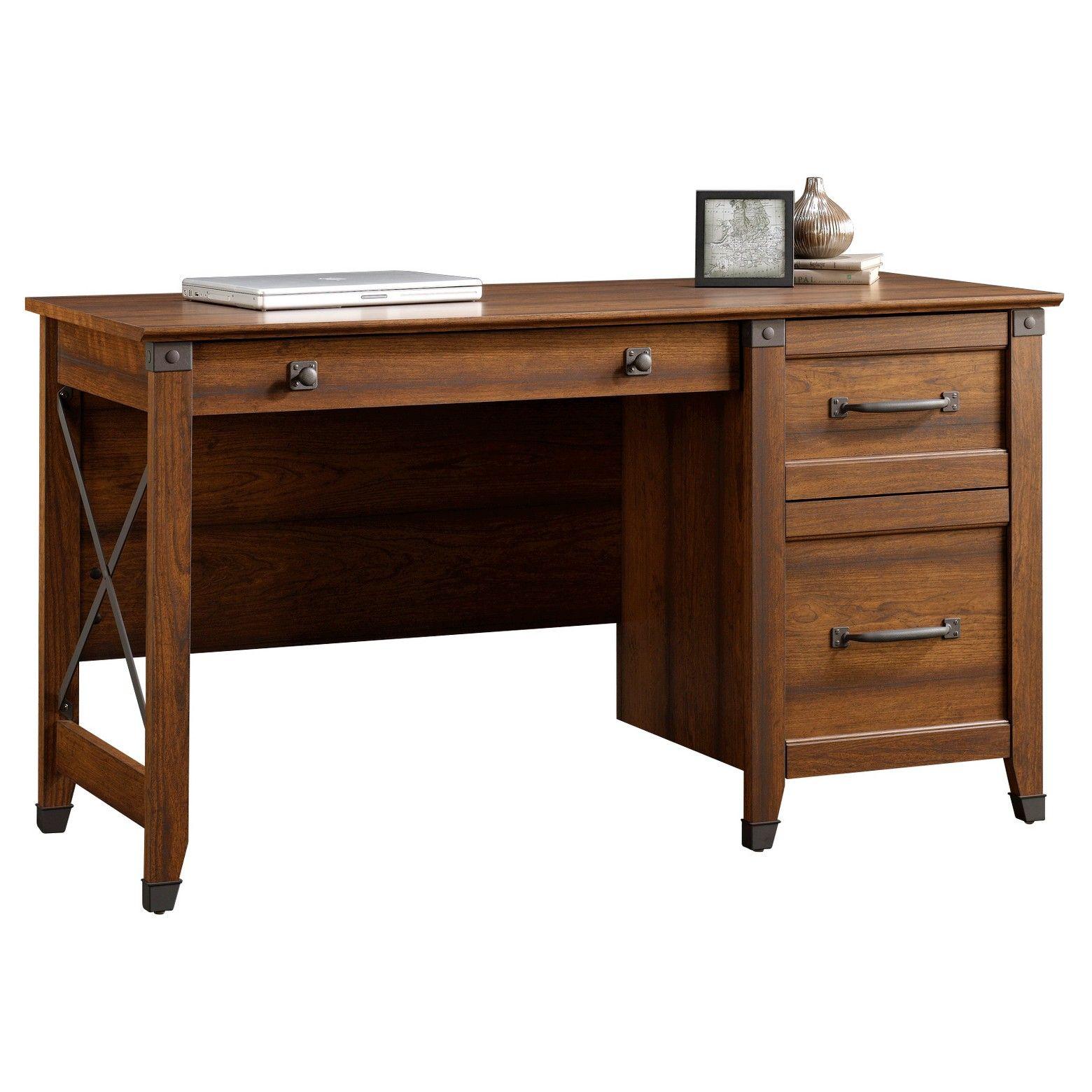 Carson Forge Desk Washington Cherry Sauder Hanging Files