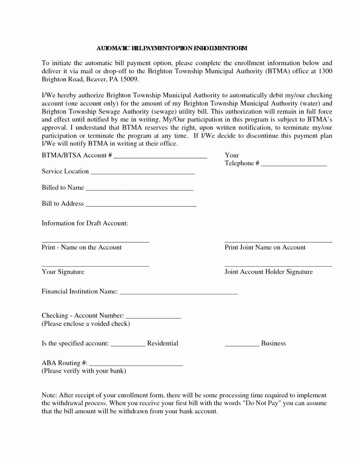 Payment Authorization Form Template Elegant 5 Automatic Payment Authorization Form Temp Address Label Template Restaurant Marketing Plan Questionnaire Template