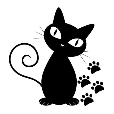 2ef462b075 Gato y Huellas   manualidades   Gato negro dibujo, Gatos y Dibujos ...