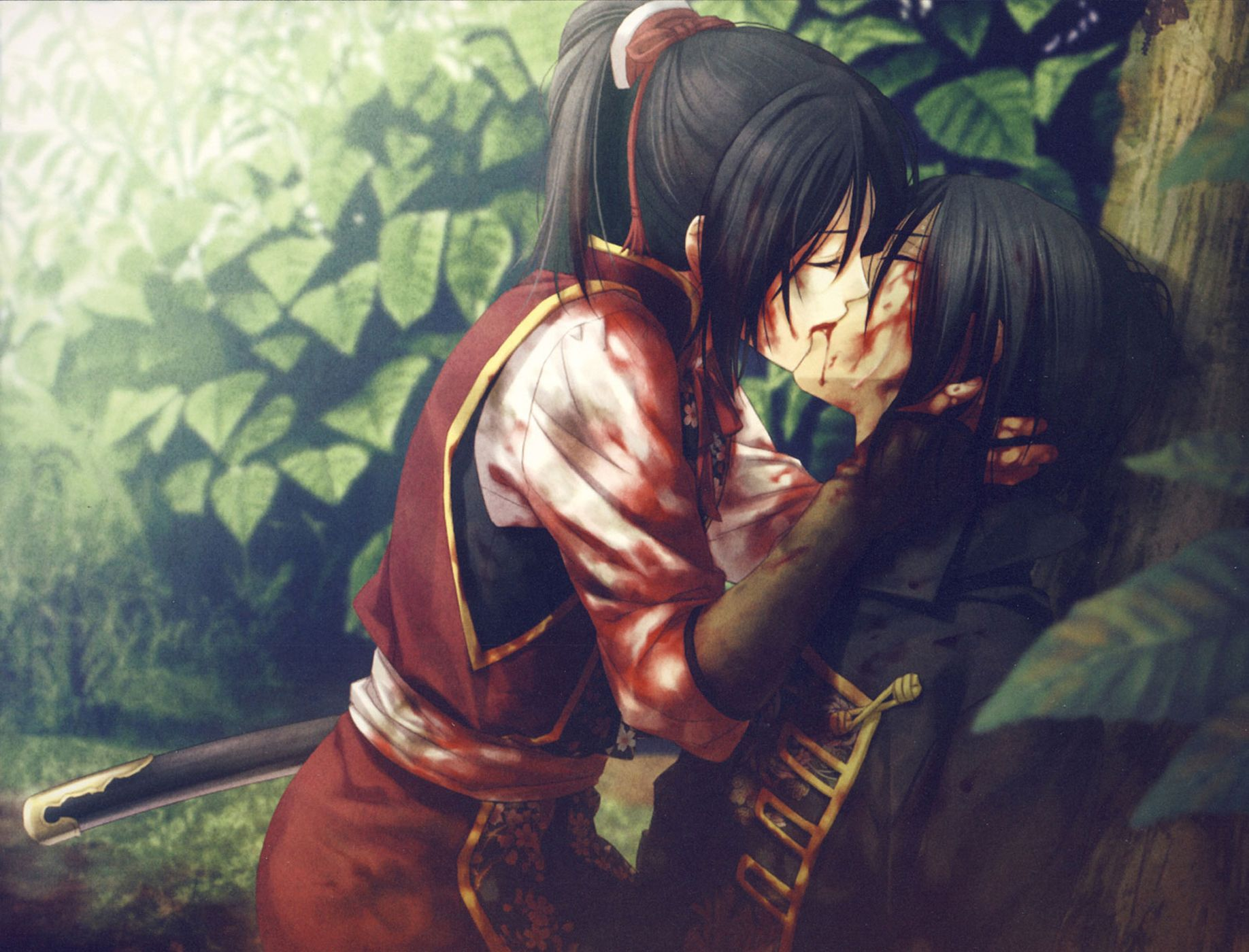 Hakuouki Shinsengumi Kitan Yukimura Chizuru Kiss Anime Blood Love