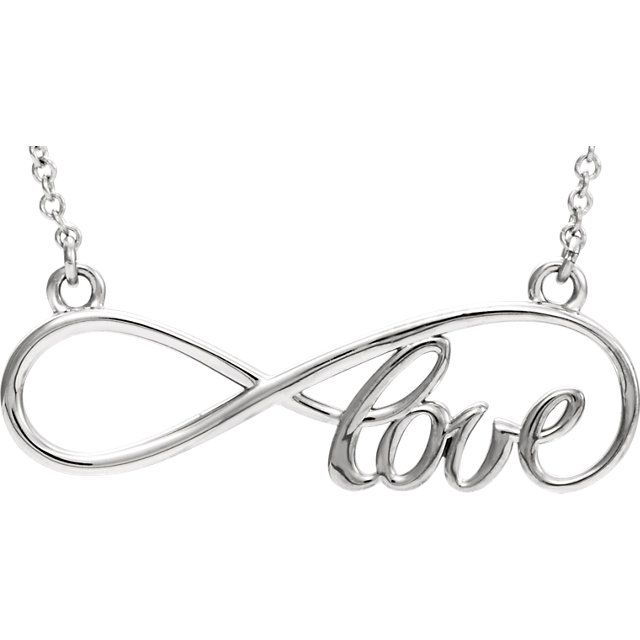"""Love"" Infinity-Style Script Necklace in 14kt White Gold"