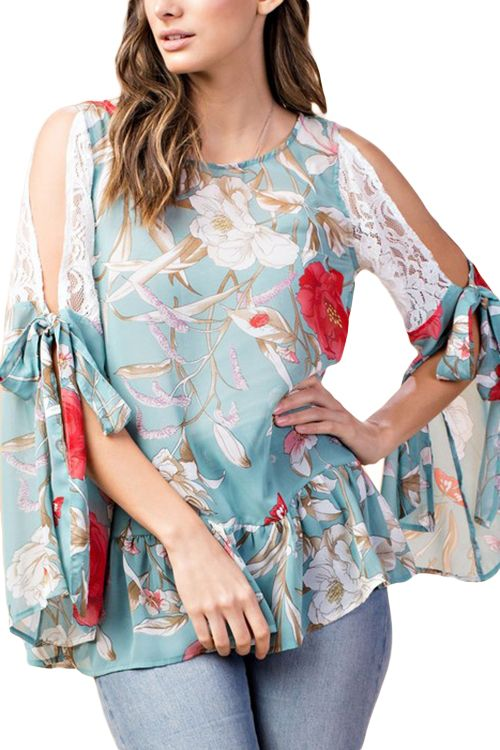 db783e0bcb9860 FLORAL CHIFFON BLOUSE WITH LACE COLD SHOULDERS