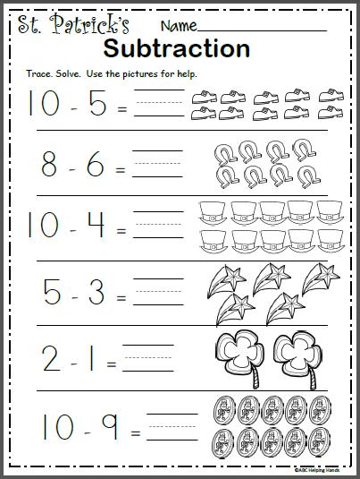 Free March Math Worksheet - Subtraction | school ideas | Subtraction ...