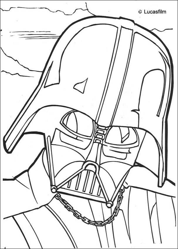 Go green and color online this Darth Vader mask coloring