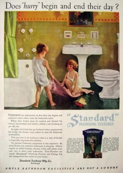 1926 Standard Plumbing Ad Kids Play In Bathroom Kids