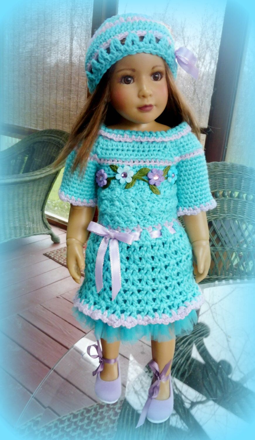 Crocheted Turquoise/Lavender Dress for Kidz 'n' Cats Dolls by CloudNineAdornments on Etsy https://www.etsy.com/listing/266005145/crocheted-turquoiselavender-dress-for